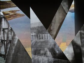 Intersecting triangles each featuring photos of landscape and building, some in colour some not.
