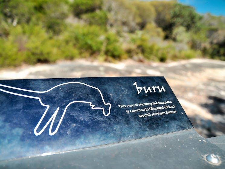 Plaque depicting an aboriginal sketch of a kangaroo