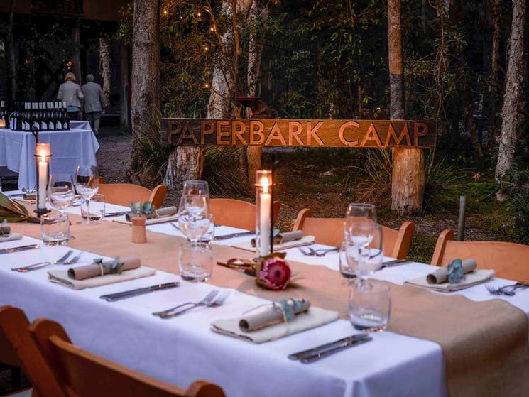 Dining under the stars at Paperbark Camp Jervis Bay