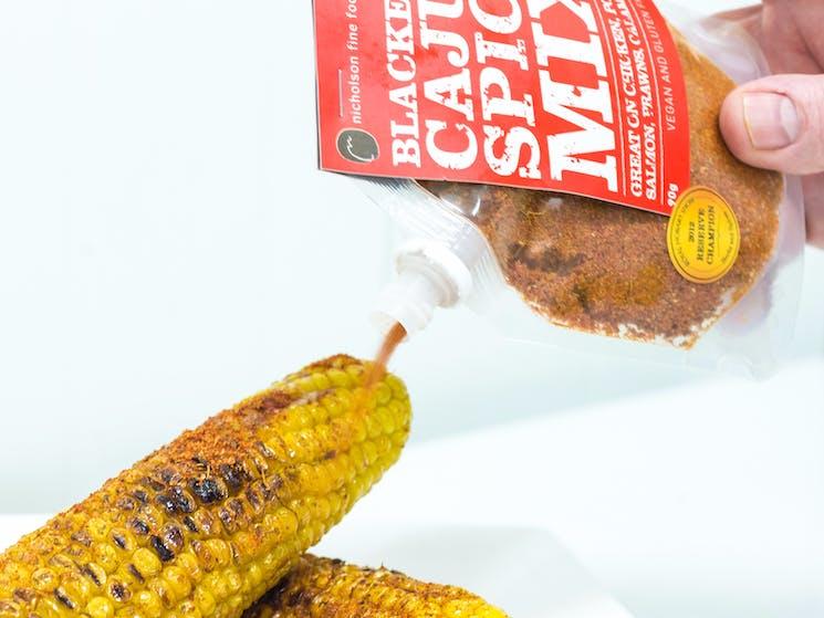 Blackened Cajun Spice Mix over bbq corn by Nicholson Fine Foods