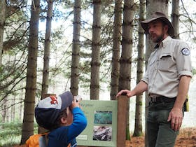 Small boy looks up at male ranger under pine trees