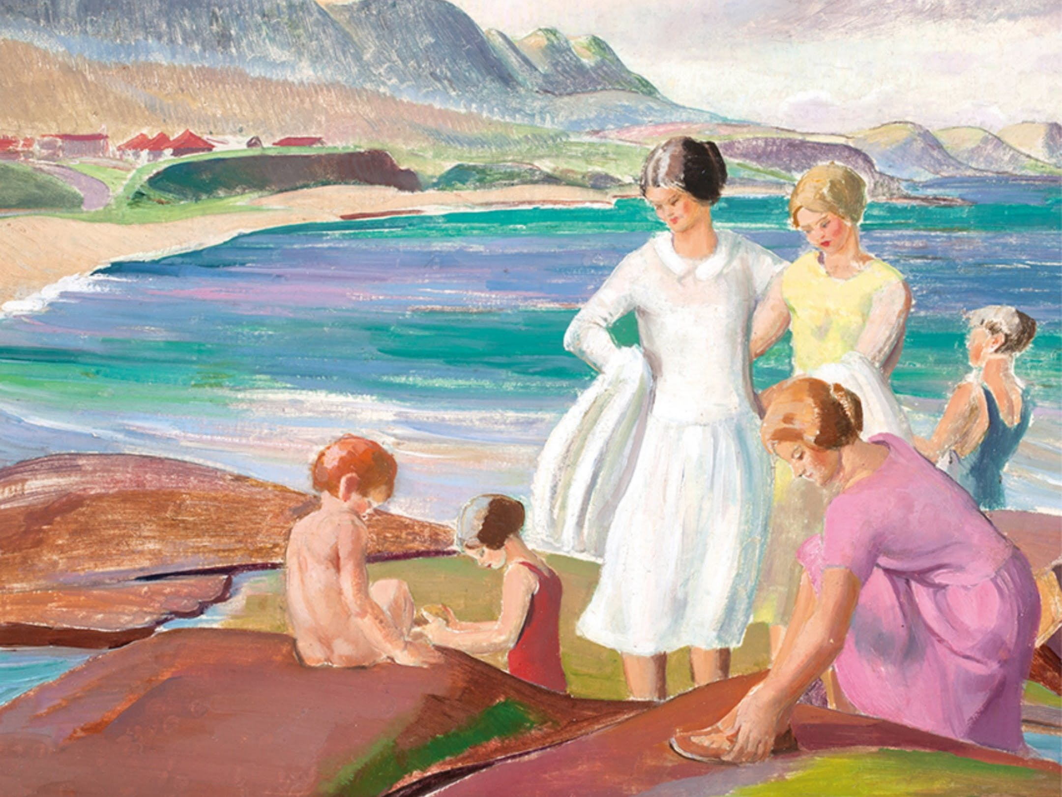 Adelaie Perry, Women and Children, Sharkey's Beach, Coledal 1929
