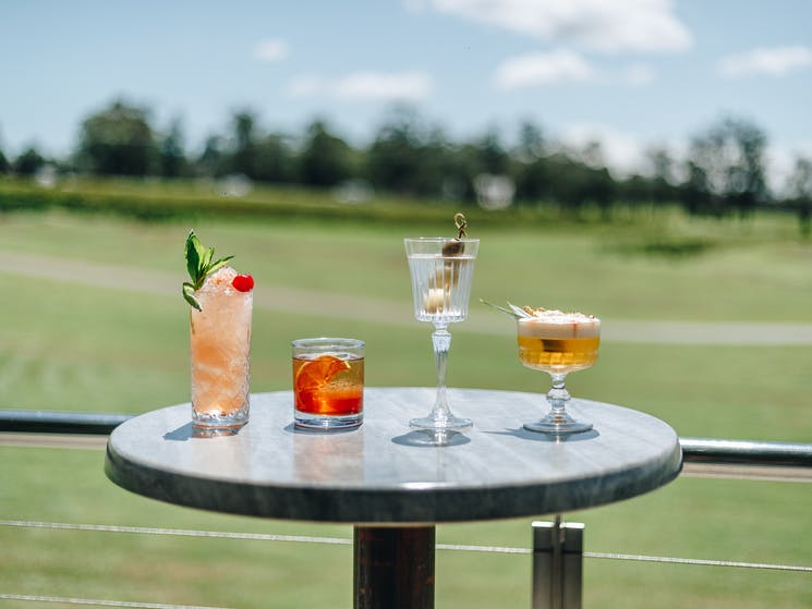 Relax with a cocktail or two and enjoy the views over Roche Estate from the Goldfish Terrace