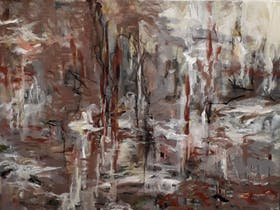 Abstract painting with brown red in background, black lines and white detail throughout