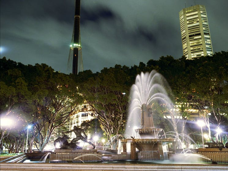Night scene of Hyde Park with fountain