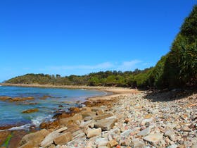 Looking south to Yamba Point at Convent Beach.