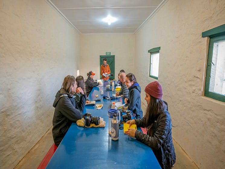 Group of students in the communal eating area, Mount Wood Shearers Quarters. Photo: John Spencer/DPI
