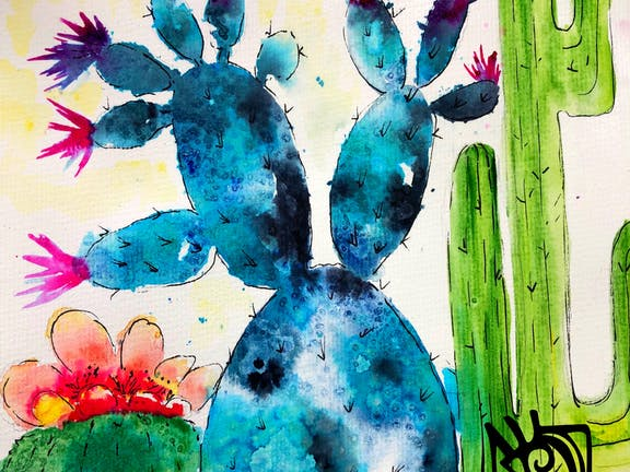 Paint and Sip Class: Watercolour Cacti